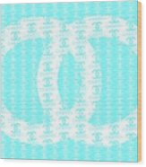 Chanel Logo Blue Teal White Wood Print