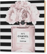 Chanel N.5, Black And White Stripes Wood Print