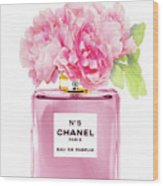 Chanel N5 Pink With Flowers Wood Print