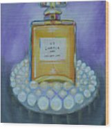 Chanel No 5 With Pearls Painting Wood Print