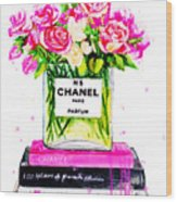 Chanel Nr 5 Flowers With  Perfume Wood Print
