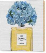 Chanel Perfume Nr 5 With Blue Hydragenias  Wood Print
