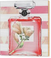 Chanel Red Flower Wood Print