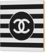 Chanel - Stripe Pattern - Black And White 2 - Fashion And Lifestyle Wood Print
