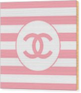 Chanel - Stripe Pattern - Pink - Fashion And Lifestyle Wood Print