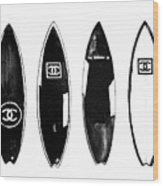 Chanel Surfboard  Black And White Wood Print