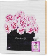 Chanel With Flowers Wood Print