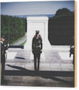 Changing Of The Guard At The Tomb Of The Unknowns At Arlington Wood Print