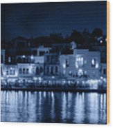 Chania By Night In Blue Wood Print