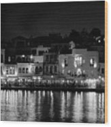 Chania By Night In Bw Wood Print