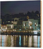 Chania By Night  Wood Print