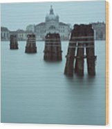 Channel Markers, Venice, Italy Wood Print