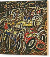 Chaos On The Track Wood Print