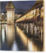 Chapel Bridge At Night In Lucerne Wood Print