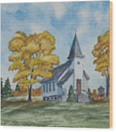 Chapel In Fall Wood Print