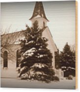 Chapel In The Snow Wood Print by Trina Prenzi