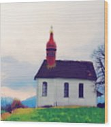 Chapel On A Hill Wood Print