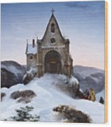 Chapel On A Mountain In Winter Wood Print