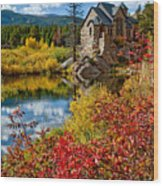 Chapel On The Rock Fall Wood Print