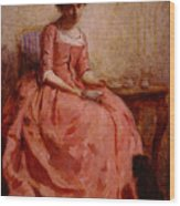 Chaplin Charles Girl In A Pink Dress Reading With A Dog Wood Print