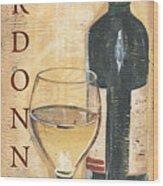 Chardonnay Wine And Grapes Wood Print