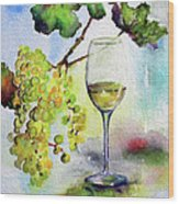 Chardonnay Wine Glass And Grapes Wood Print