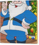 Chargers Santa Claus Wood Print
