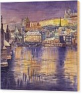 Charles Bridge And Prague Castle With The Vltava River Wood Print