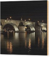 Charles Bridge At Night Wood Print
