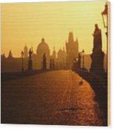 Charles Bridge Prague At Sunrise Wood Print