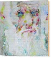Charles Darwin - Watercolor Portrait.5 Wood Print