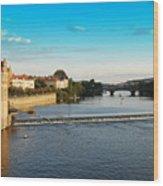Charle's Or Carl's Bridge View In Prague Wood Print