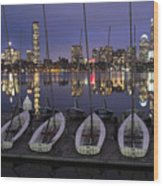 Charles River Boats Clear Water Reflection Wood Print
