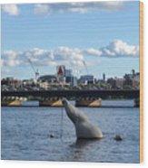 Charles River Boston Ma Crossing The Charles Citgo Sign Mass Ave Bridge Wood Print