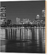 Charles River Boston Ma Prudential Lit Up Not Done New England Patriots Black And White Wood Print