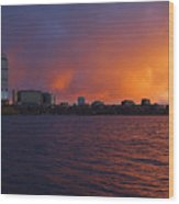 Charles River Vibrant Sunset Boston Ma Wood Print