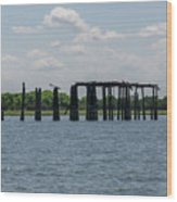 Charleston Export Coal Terminal Wooden Testle Wood Print