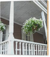 Charleston Historical District Front Porch Flowers - Charleston Homes Architecture Wood Print
