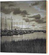 Charleston Marina Sunset In Sepia Wood Print