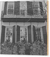 Charleston Style Home Black And White Wood Print