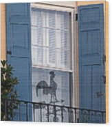 Charleston Weathervane Reflection Wood Print