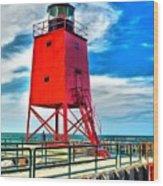 Charlevoix South Pier Light Wood Print