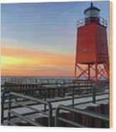 Charlevoix South Pier Lightstation Wood Print