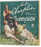 Charlie Chaplin In Sunnyside 1919 Wood Print