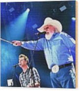 Charlie Daniels On Stage Wood Print