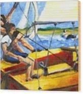 Charlies Race Boat Wood Print