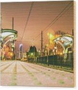 Charlotte City Skyline Night Scene With Light Rail System Lynx T Wood Print
