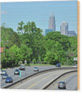 Charlotte Skyline From A Distance Wood Print