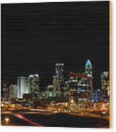 Charlotte Skyline Panoramic Wood Print by Patrick Schneider