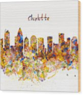 Charlotte Watercolor Skyline Wood Print